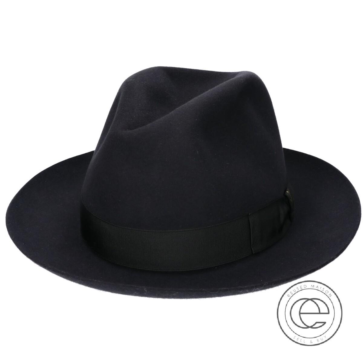 Borsalino ボルサリーノ 114336 Q.S. アネッロ ラザート ラビットファーフェルトハット 帽子 60 ブラック メンズ 【中古】