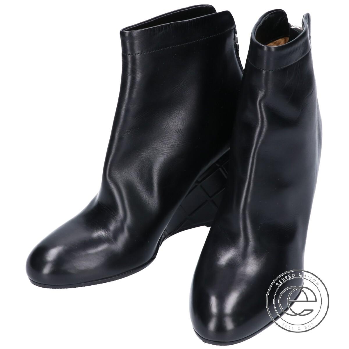 PELLICO ペリーコ ワッフルウェッジソール バックジップアンクルブーツ 35 ブラック レディース 【中古】