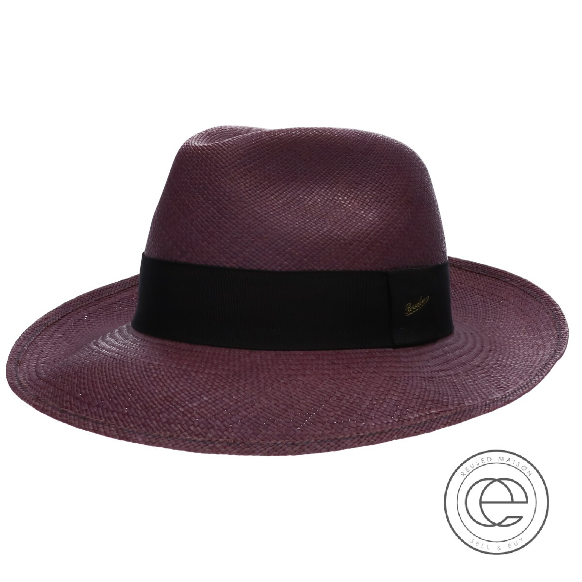 Borsalino ボルサリーノ 140229 中折れパナマハット 帽子 59 アズキ メンズ 【中古】