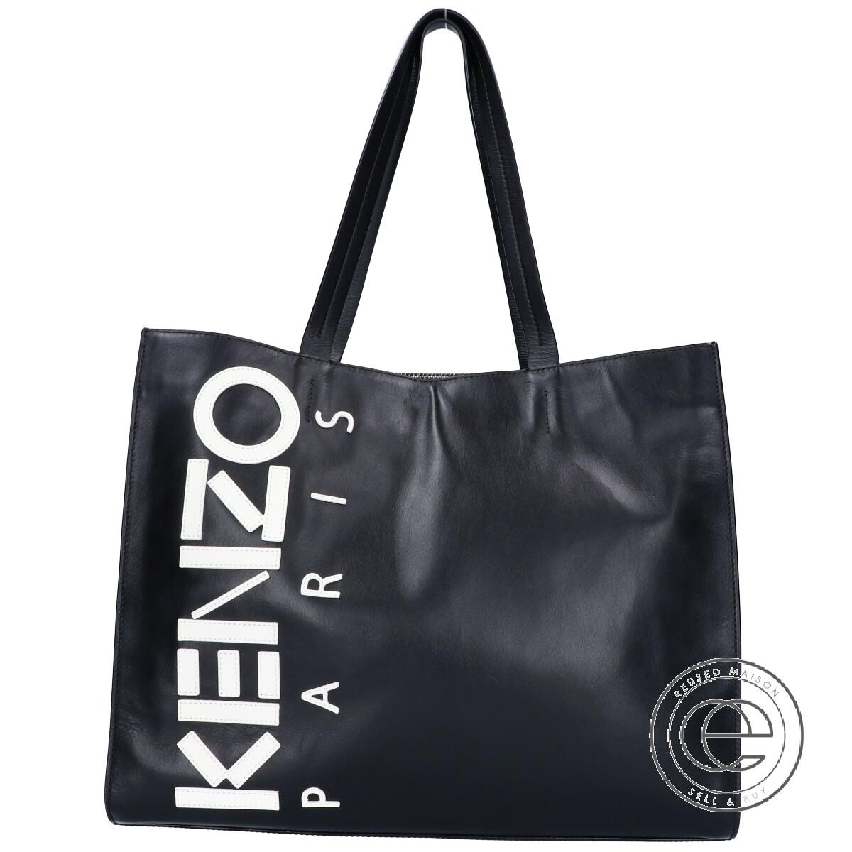 KENZO ケンゾー ロゴ レザー トートバッグ ブラック/ホワイト メンズ 【中古】