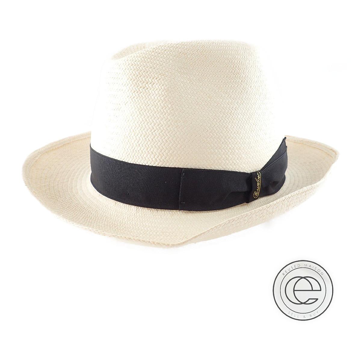 Borsalino 定価 ボルサリーノ 140261 PAGLIA パナマハット 帽子 年間定番 中古 ブラック オフホワイト 57 メンズ