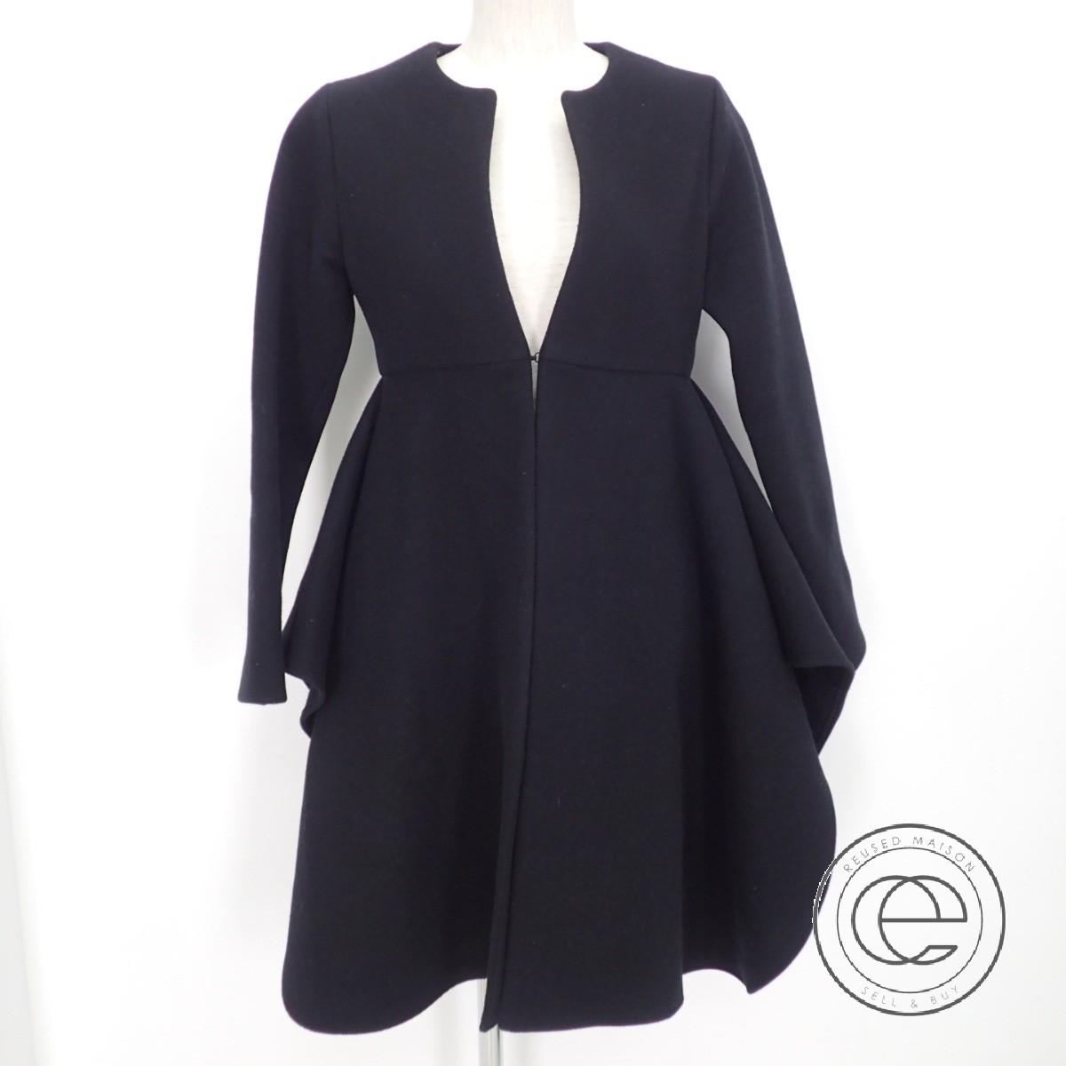 YOKO CHAN ヨーコチャン YCC-316-058 ウール 裾フレア ノーカラーコート36 ブラック レディース 【中古】