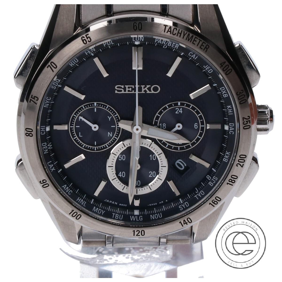 商店 SEIKO セイコー SAGA193 8B92-0AB0 BRIGHTZブライツ フライトエクスパート ソーラー電波 クロノグラフ 期間限定で特別価格 シルバー 中古 メンズ 腕時計