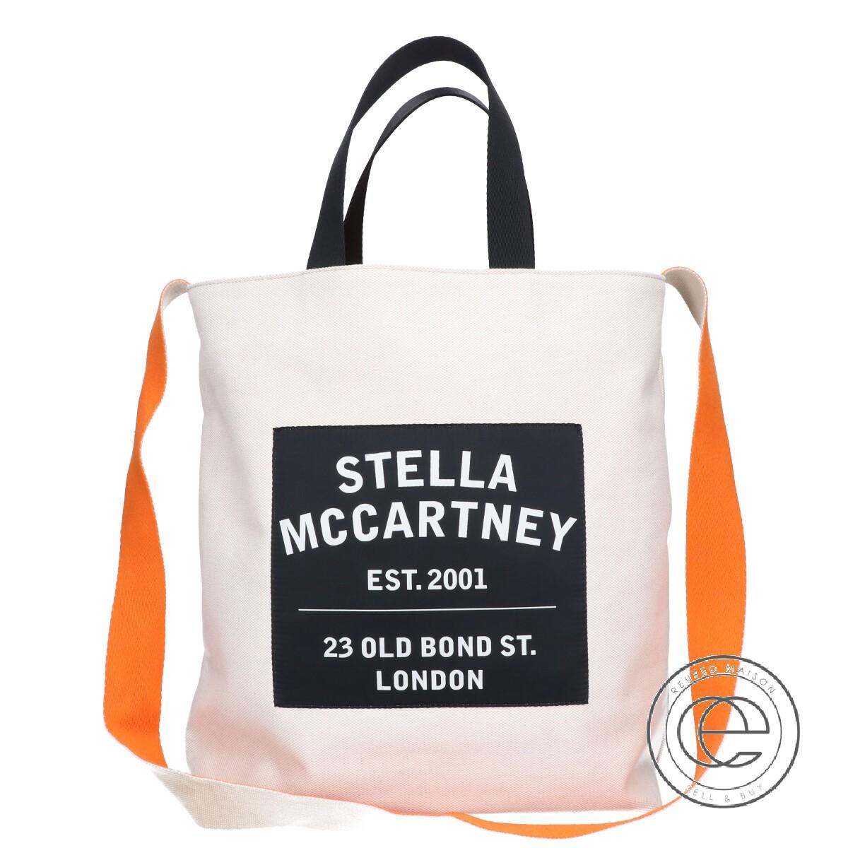 STELLAMcCARTNEY 本店 ステラマッカートニー 700113 W8740 ロゴキャンバス 2WAY トートバッグ おトク ORANGE SAND 中古 レディース