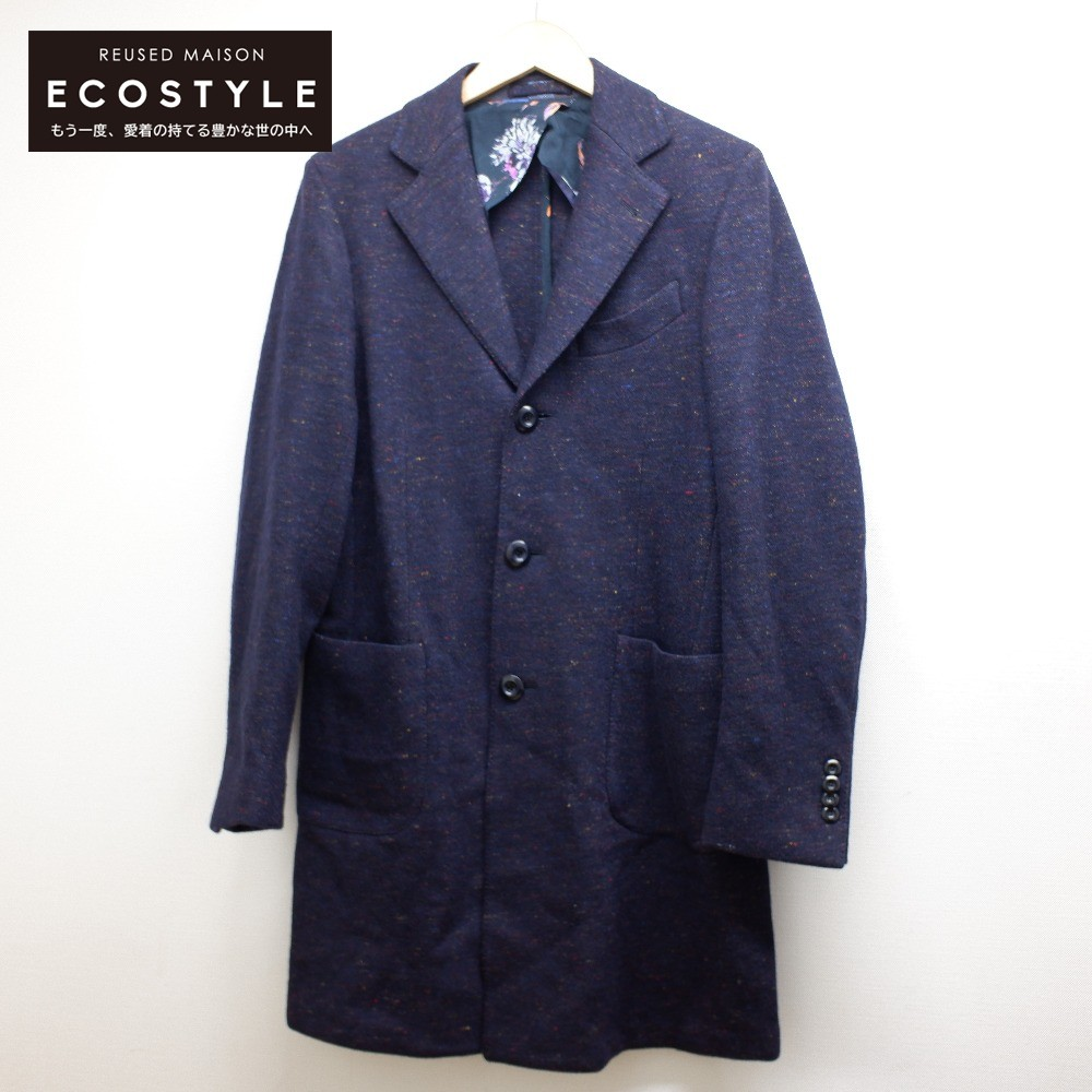 大決算セール ETRO 安値 エトロ 国内正規 ウール混 チェスター 中古 48 ネイビー メンズ コート
