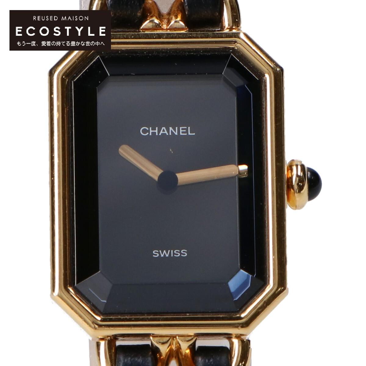 CHANEL シャネル PREMIEREプルミエール PLAQUE メーカー在庫限り品 OR G 20 M 品質検査済 中古 ブラック レディース メタル ゴールド 腕時計 レザーベルト