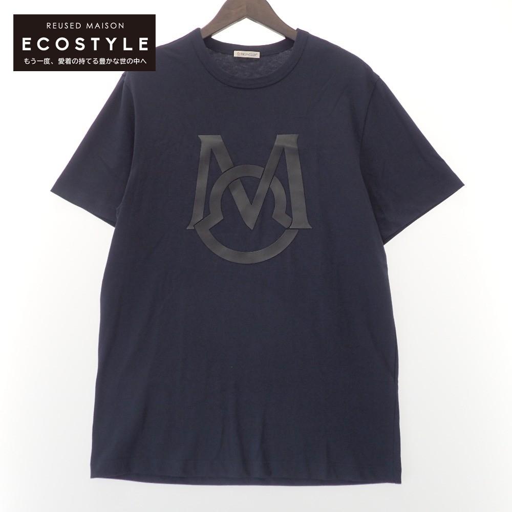 MONCLER モンクレール 国内正規 20年製 G10918C7E120 8390T センタープリント M トップス レビューを書けば送料当店負担 Tシャツ メンズ クルーネック ネイビー 大幅にプライスダウン 中古
