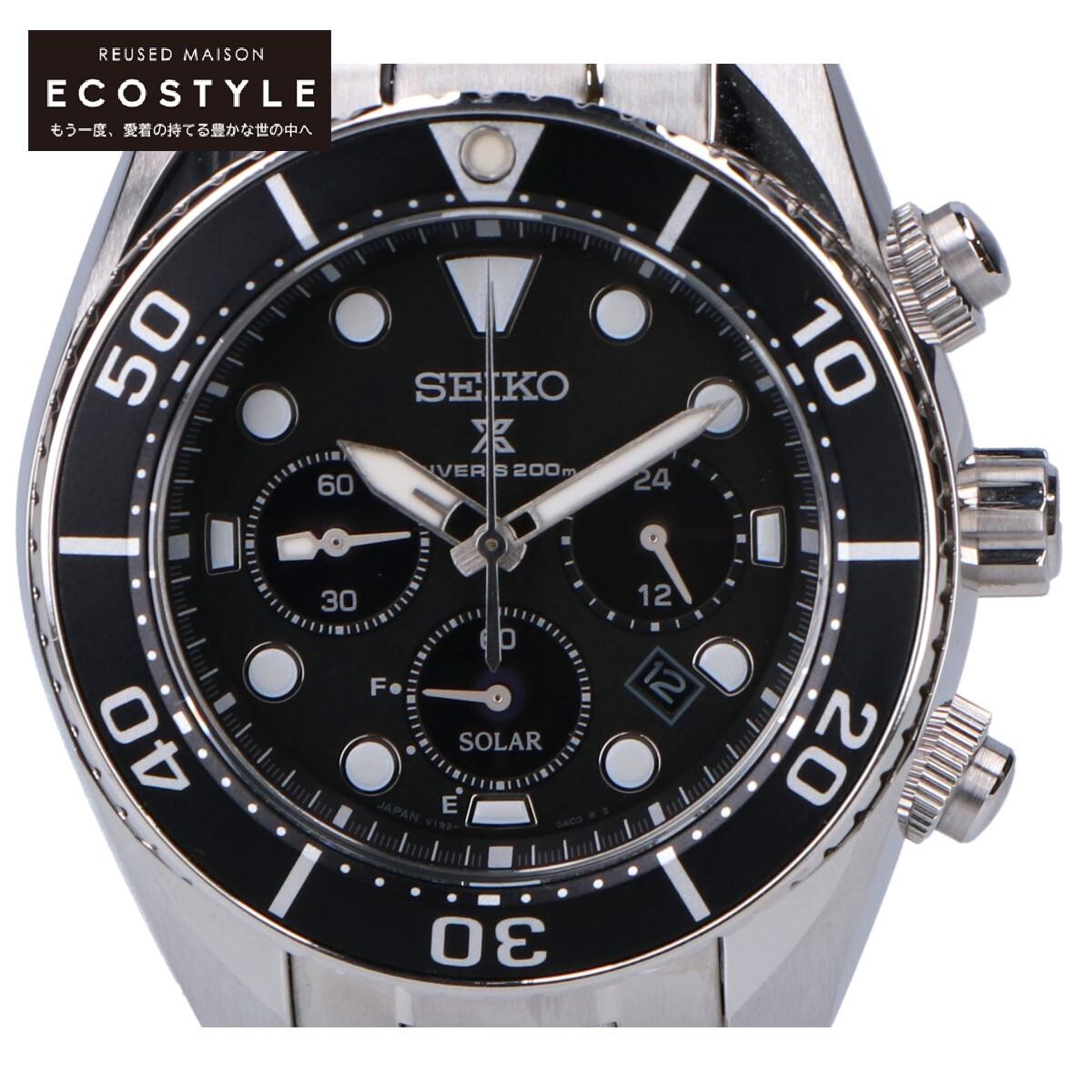 SEIKO 受賞店 セイコー SBDL061 プロスペックス ダイバーズウオッチ ソーラー 中古 日時指定 腕時計 シルバー メンズ ブラック