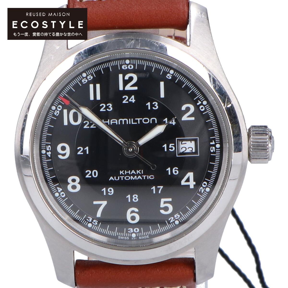 HAMILTON ハミルトン H70555533 カーキ フィールド オート 腕時計 NEW売り切れる前に☆ 新色追加して再販 中古 ケース:シルバー ベルト:ブラウン メンズ 自動巻き
