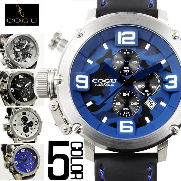 腕時計 メンズ ブランド 送料無料 1年保証【全5色】正規 COGU コグ 逆リューズ 仕様 3D ビッグフェイス クロノグラフ 腕時計 BOX 保証書付き  0130 AOR-A CRD-LTD