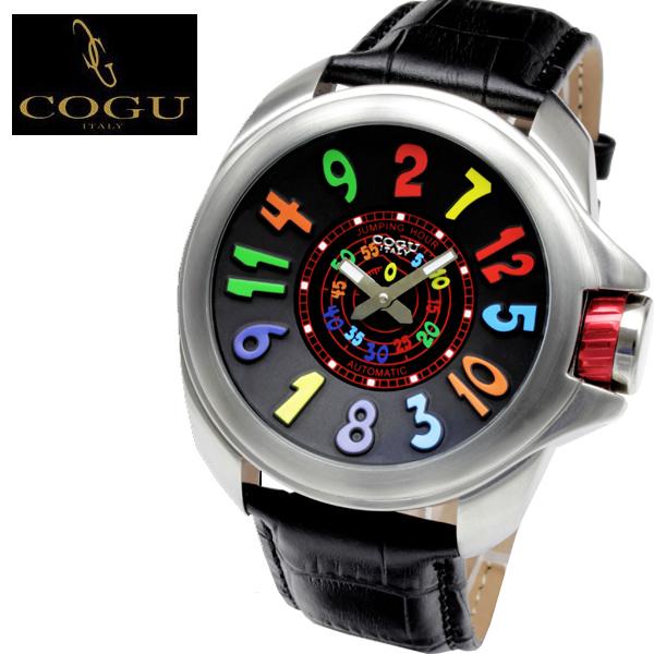 自動巻き腕時計 メンズ ブランド 送料無料 1年保証 正規 COGU コグ ジャンピングアワー 3D ビッグフェイス 自動巻き 腕時計 BOX 保証書付き