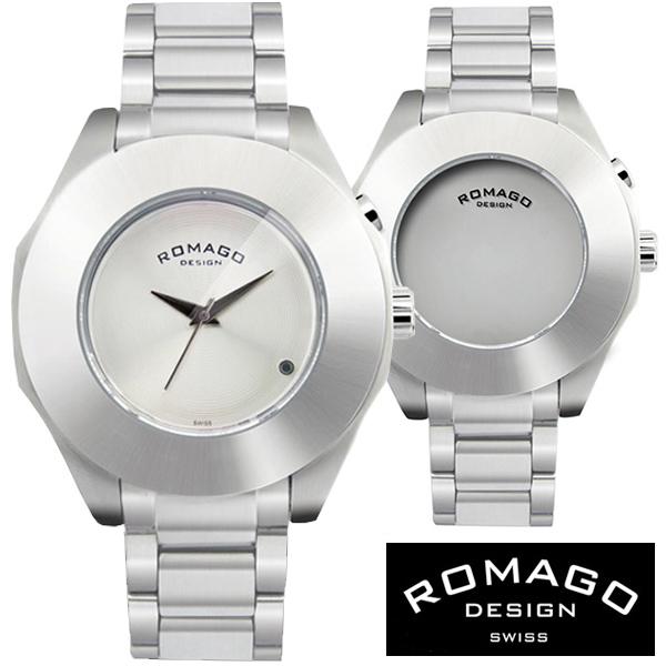 腕時計 メンズ レディース ブランド 1年保証 正規 ROMAGO ロマゴ HARMONY ミラー文字盤 マット シルバー ビッグフェイス 腕時計 BOX 保証書付
