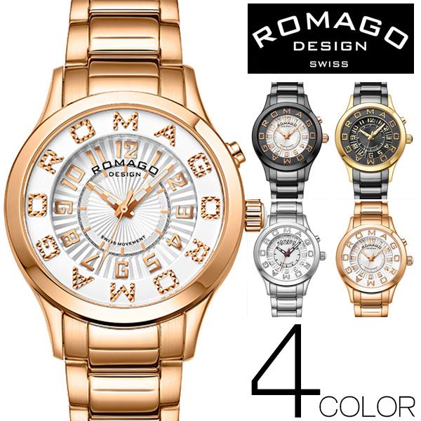 腕時計 レディース ブランド 1年保証 正規 ROMAGO(ロマゴ) ATTRACTIONミラー文字盤 ダイアモンドロゴ 40mmフェイス腕時計 全3色 BOX 保証書付き 0610