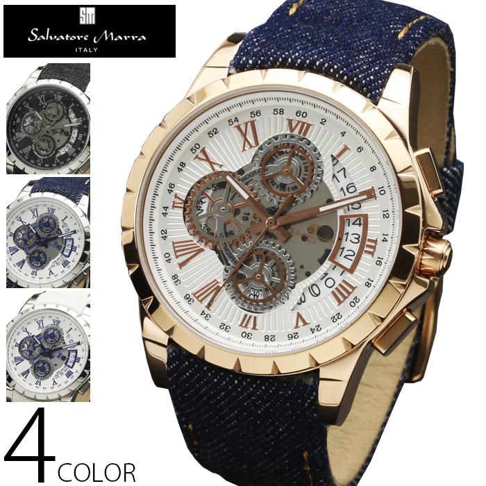 クロノグラフ 腕時計 メンズ 送料無料 全4色 1年保証 正規【Salvatore Marra サルバトーレマーラ】スケルトン クロノグラフ 腕時計【BOX・保証書付】 メンズ腕時計 S0204