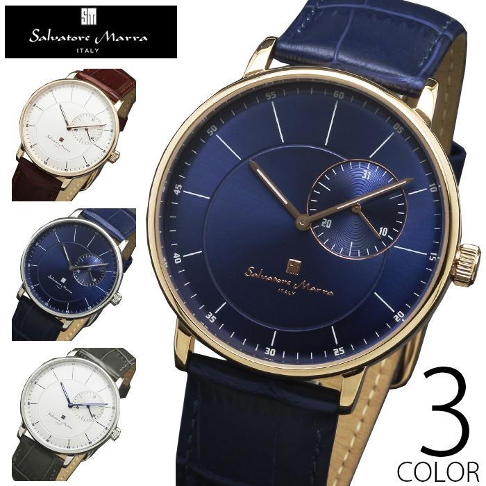 5気圧防水 腕時計 メンズ 1年保証 全4色 正規 Salvatore Marra サルバトーレ マーラ スモールセコンド 腕時計 BOX 保証書付
