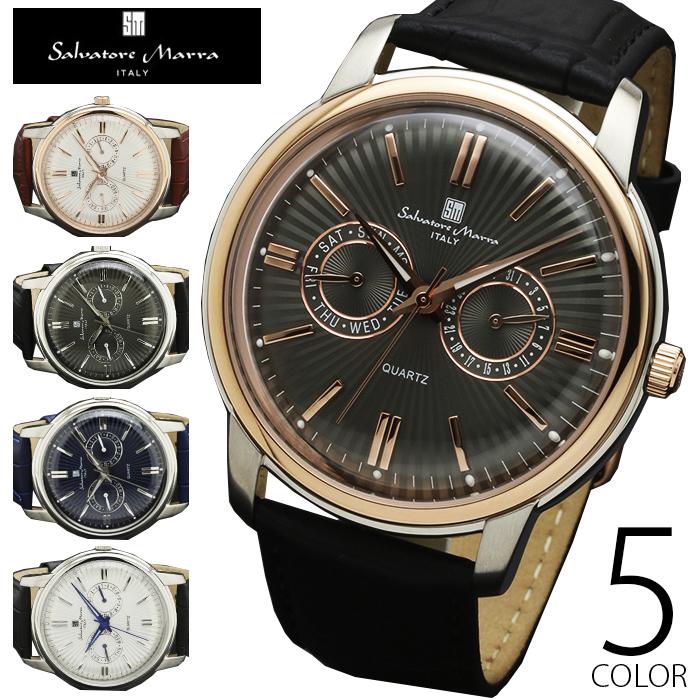 5気圧防水 マルチカレンダー 腕時計 メンズ 1年保証 全5色 正規 Salvatore Marra サルバトーレ マーラ クラシック 腕時計 BOX 保証書付 AOR-A
