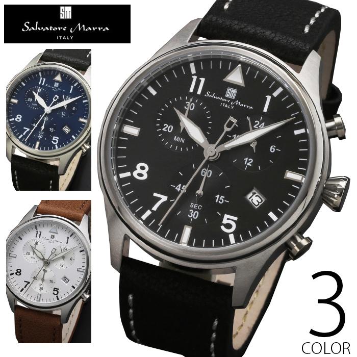10気圧防水 クロノグラフ 腕時計 メンズ 1年保証 全3色 正規 Salvatore Marra サルバトーレ マーラ クロノグラフ 腕時計 BOX 保証書付 AOR-A
