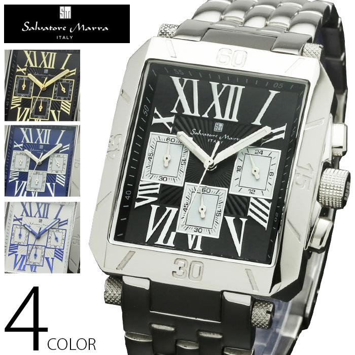 5気圧防水 クロノグラフ 腕時計 メンズ 1年保証 全4色 正規 Salvatore Marra サルバトーレ マーラ クロノグラフ 腕時計 BOX 保証書付 AOR-A