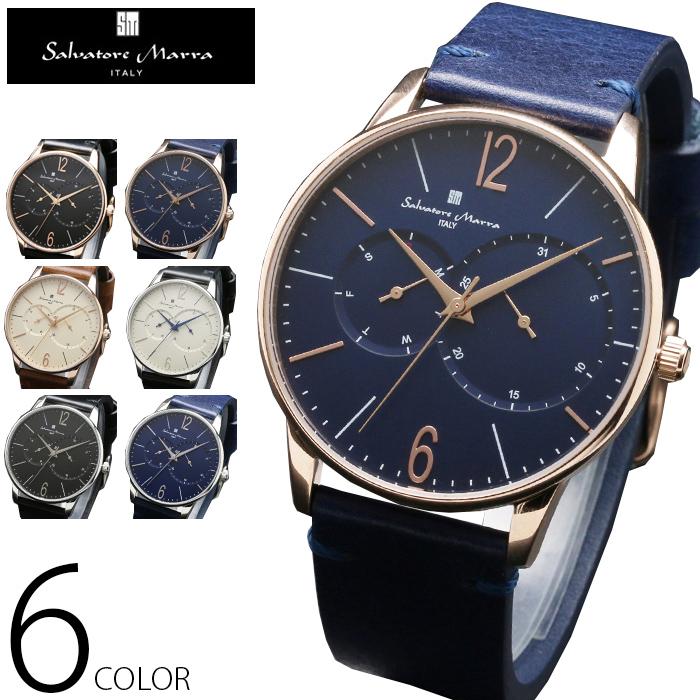 マルチファンクション 腕時計 メンズ 全6色 正規 Salvatore Marra サルバトーレ マーラ マルチカレンダー搭載 クラシカルフェイス 腕時計 BOX 保証書付 0322