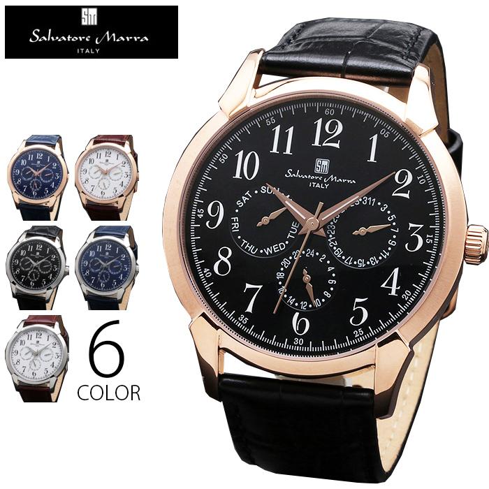 3気圧防水 マルチファンクション 腕時計 メンズ 1年保証 全6色 正規 Salvatore Marra サルバトーレ マーラ マルチカレンダー 腕時計 BOX 保証書付 0522