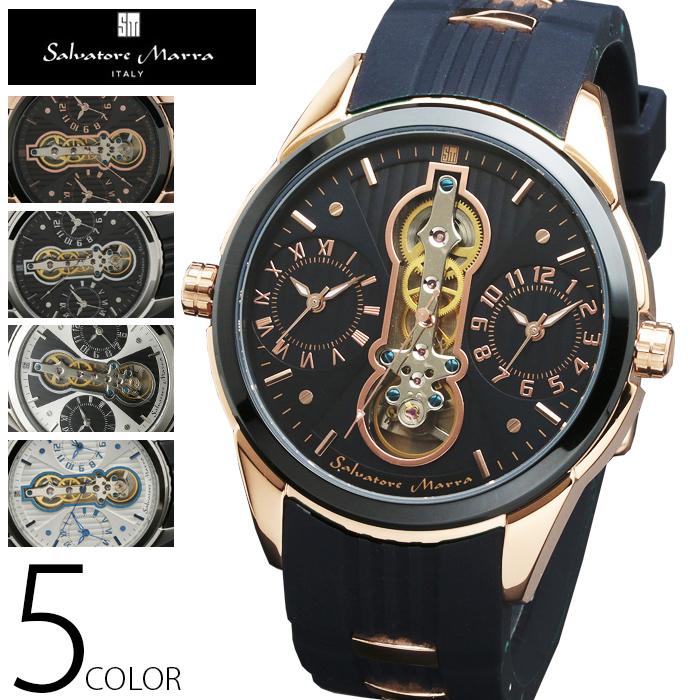 5気圧防水 ツインクォーツ 自動巻き 腕時計 メンズ 1年保証 全5色 正規 Salvatore Marra サルバトーレ マーラ 腕時計 BOX 保証書付 SM1003 AOR-A