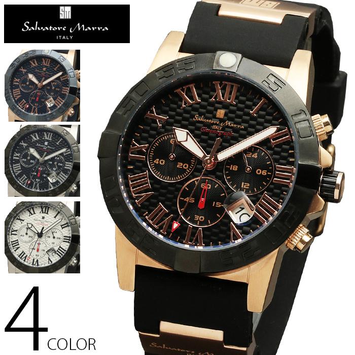 10気圧防水 クロノグラフ 腕時計 メンズ 1年保証 全4色 正規 Salvatore Marra サルバトーレ マーラ クロノグラフ 腕時計 BOX 保証書付 SM1003 AOR-A