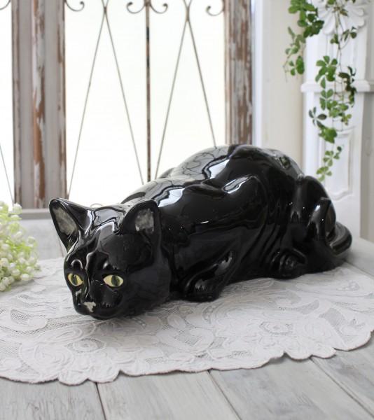 アンティークな黒猫の置物 陶器製 キャット オブジェ ボルダロ・ピニェイロ ポルトガル製 おしゃれ シャビーシック アンティーク風 洋食器