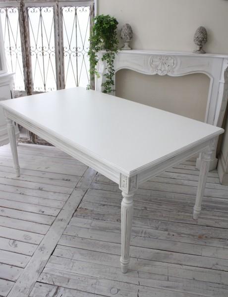 アンティーク風のお洒落なダイニングテーブル ホワイト カントリーコーナー Country Corner Gustavienコレクション ダイニングテーブル 白 机 長方形 四角 グレー アンティーク風 フランス 送料無料