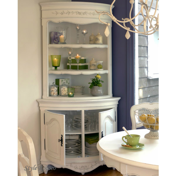 Country Corner ROMANCE Romance Collection Corner Cabinet White House  Fixture France Furniture Imports Furniture Display Shelf Cupboard [121037]