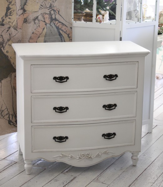 Antique Shabby Chic Clothes Storage, Country Corner ROMANCE Romance  Collection Chest (3 Drawers) White House Fixture France [121011]