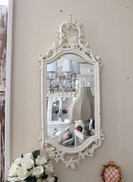 ロココ調 壁掛けミラー(ホワイト015)壁面 鏡 壁掛け ウォールデコ アンティーク風 シャビーシック ガーリー 姫系 アンティーク 雑貨 antique