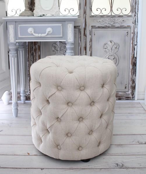 シャビーシックなフレンチスツール(リネンベージュ) オットマン 椅子 布張り シャビーシック アンティーク風 輸入雑貨 アンティーク 雑貨 姫系 おしゃれ
