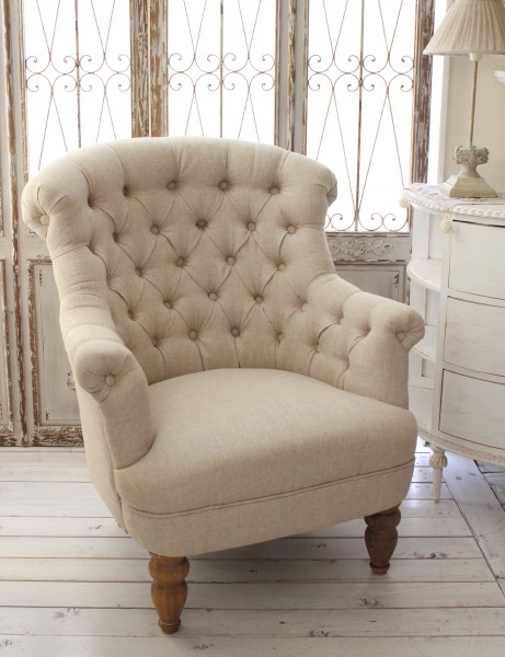 French Style Arm Sofa One Seat (Beige Linen) French Country Shabby Chic  Upholstered French Sofa French Sofa [221018]