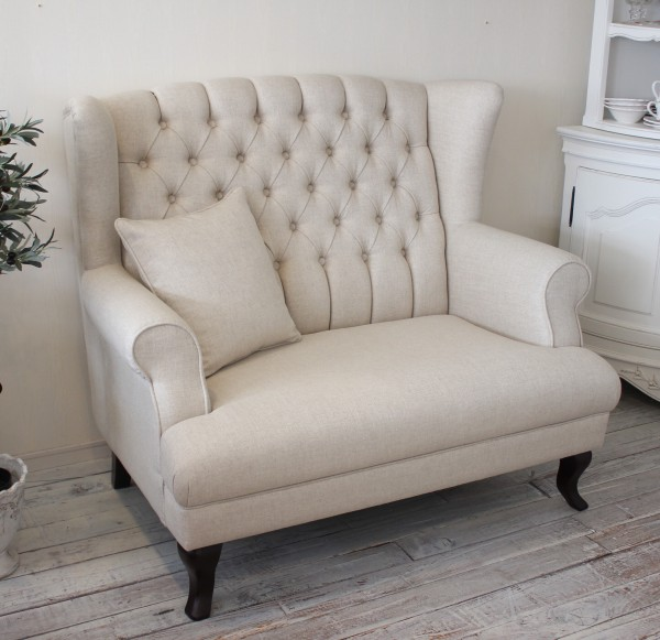 Antique French Country Linen Sofa Shabby Chic Chesterfield Highback Sofa  [221,000]