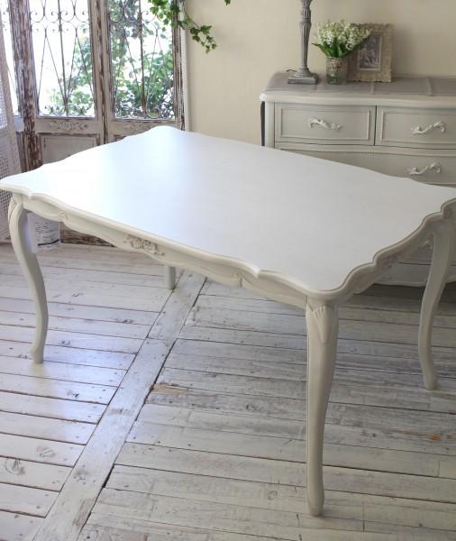 シャビーシック リュバンシリーズ ダイニングテーブル135cm (1692) テーブル 4人掛け 木製 (白家具 ロココ調 姫系 姫家具 猫足 アンティーク かわいい リボン フレンチカントリー)