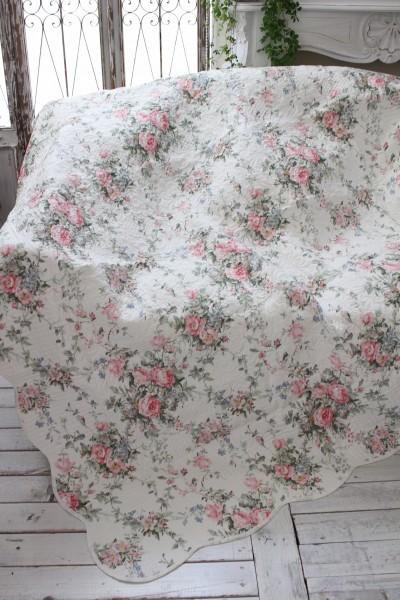 トリアノン フラワーキルト(140×200)リバーシブル キルトラグ キルティングスロー キルティング マルチカバー キルティングラグ 敷物 布製 フレンチカントリー シャビーシック 綿100%