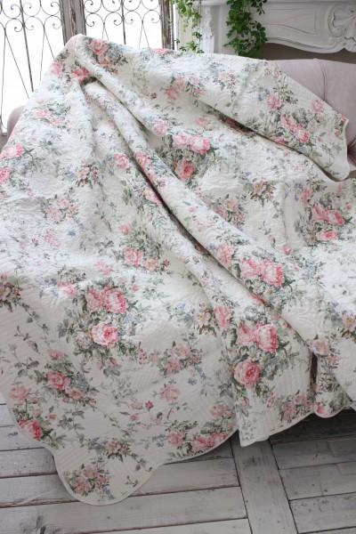 トリアノン フラワーキルト(200×250)リバーシブル キルトラグ キルティングスロー キルティング マルチカバー キルティングラグ 敷物 布製 フレンチカントリー シャビーシック 綿100%
