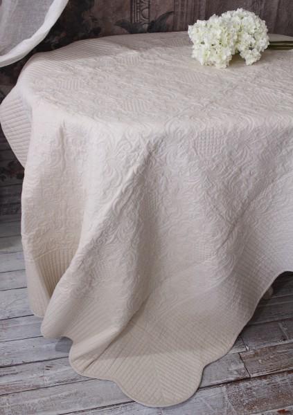 ペールベージュキルト(200×250)リバーシブル キルトラグ キルティングスロー キルティング マルチカバー キルティングラグ 敷物 布製 フレンチカントリー シャビーシック 綿100%