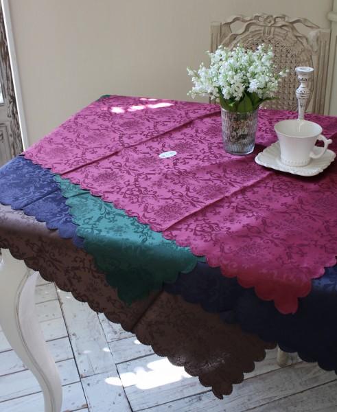トップクロス 撥水 正規逆輸入品 テーブルクロス ダマスクローズ 100×100スカラップ ジャガード フリークロス 100×100 薔薇 ネコポス便OK ご予約品