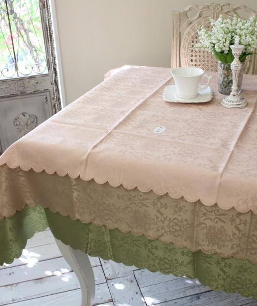 テーブルクロス 新色 撥水 はっ水 薔薇 ジャガード 特価キャンペーン 長方形 スカラップ ダマスクローズ 135×180 ネコポス便OK