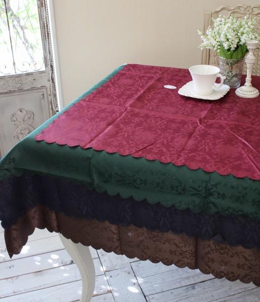 テーブルクロス 撥水 はっ水 薔薇 ジャガード 135×180 ダマスクローズ 直送商品 送料無料でお届けします スカラップ ネコポス便OK 長方形
