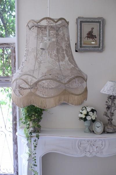 フランスレースの美しいランプシェード(エクリュベージュL) 天井照明 布シェード ハンギングランプ アンティーク お洒落 フレンチカントリー シャビーシック アンティーク風