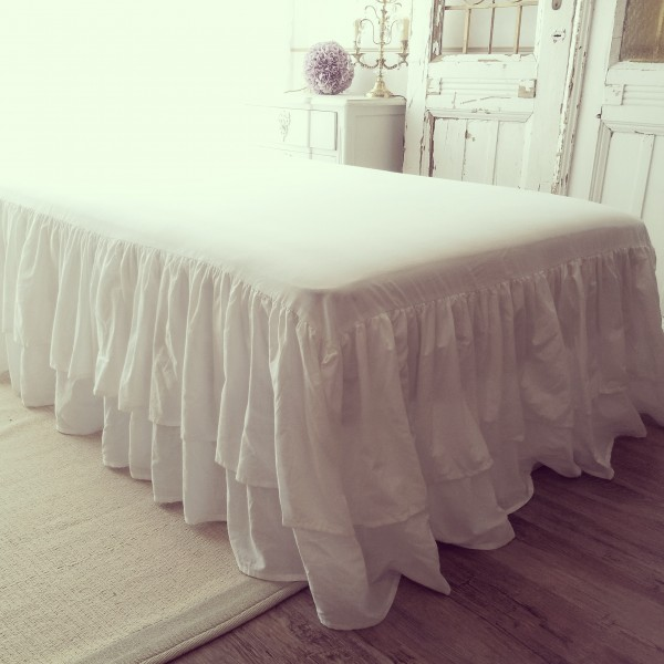 Shabby Chic Bed Skirt 100 Cotton Double Drop 45 Cm Fabric French Country Tamtam