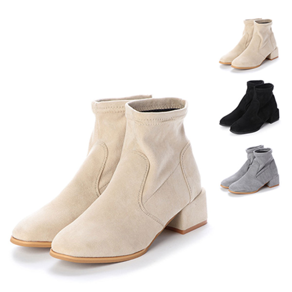 ブーツ ショートブーツ 太ヒール ローヒール 5cmヒール スエード 調 合皮 シンプル シューズ 靴 レディース ブラック グレー ベージュ