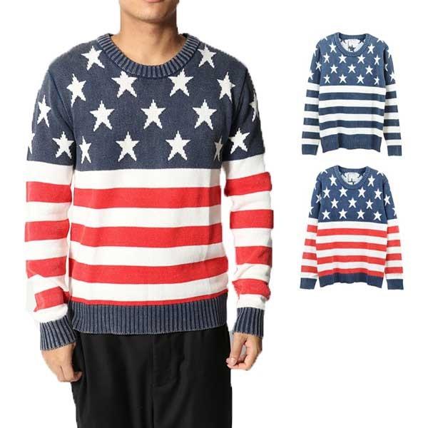 ニット セーター 薄手ニット クルーネック ジャガード ロゴ 長袖 トップス メンズ トップス