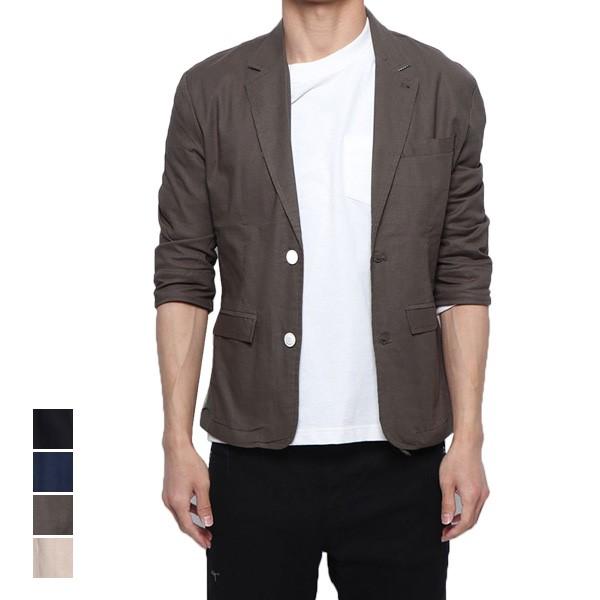 【あす楽対応】ジャケット サマージャケット ストレッチ テーラードジャケット 7分袖 クロップドスリーブ 七分袖 麻 薄手 ライトアウター アウター メンズ ベージュ ブラック カーキ ネイビー:メンズファッション StyleBlockMEN