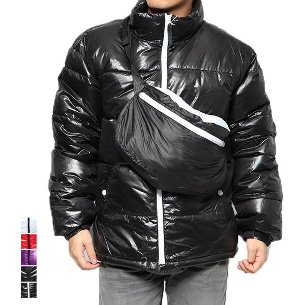 ジャケット ブルゾン 中綿 ダウンタッチ バッグ付き セットアイテム 2点セット 光沢 ショルダーバッグ 無地 シンプル 防寒 アウター メンズ ブラック パープル レッド ホワイト