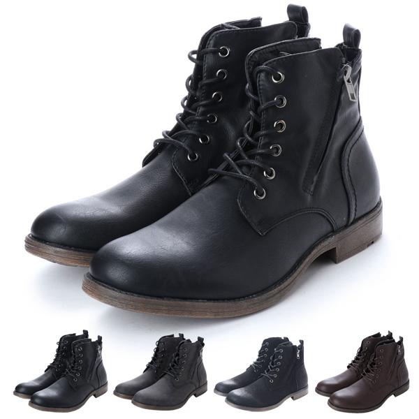 【あす楽対応】ブーツ ショートブーツ レースアップブーツ 編み上げ フェイクレザー PUレザー 靴 シューズ メンズ ブラック ダークブラウン