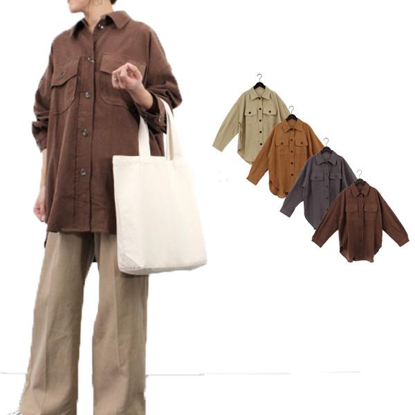 シャツ ブラウス CPOシャツ カジュアルシャツ コーデュロイ ロング レギュラーカラー 長袖 無地 綿 コットン100% トップス レディース ライトベージュ ベージュ グレー ブラウン