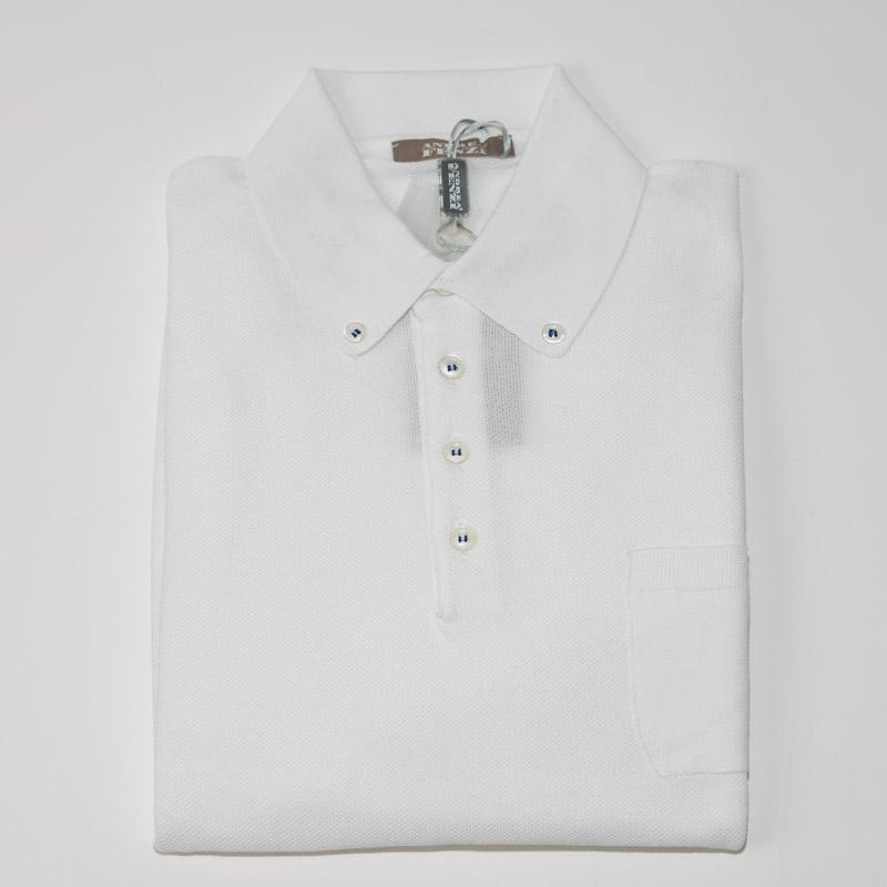 ANDREA FENZI | アンドレアフェンツィ イタリア製 送料無料 カジュアル 白 無地 コットン 綿 鹿の子 ポロシャツ ホワイト 長袖 メンズ カットソー
